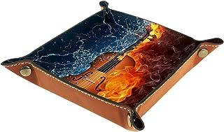 Plateau à bijoux Guitare Ice And Fire Plateau de rangement pour bijoux en cuir Petite boîte de rangement Organisateur de d...