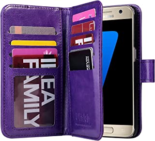 ULAK Galaxy S7 Case, Magnetic Premium PU Leather Flip Wallet Case Stand Folio Cover with Built-in 9 Slots and Wrist Strap for Samsung Galaxy S7 (5.1 inch) 2016 Release (Purple) Will not Fit S7 Edge