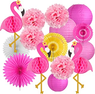 Latoy Flamingo Party Supplies, Tropical Luau Party Decorations, Hanging Paper Fans, Fiesta Party Supplies, Tissue Paper Flowers for Hawaiian Beach Luau Party Birthday Wedding Photo Backdrop