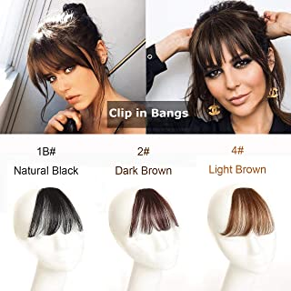 Clip in Bangs/Fringe Natural Real Human Hair Clip in/on Hair Extensions Flat Air Bangs with Temple for Girls Women One-piece Hairpiece (Flat Air Bangs, 1B# Natural Black)