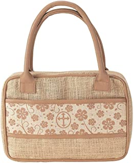 Floral Band Front Pocket Purse Style Burlap Jute Bible Cover with Double Handles, Thinline