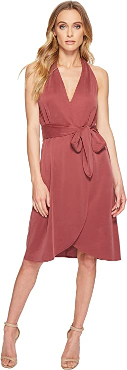 Halter Belted Wrap Dress