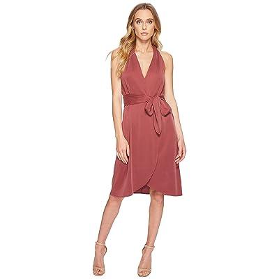 Halston Heritage Halter Belted Wrap Dress (Dark Desert Rose) Women