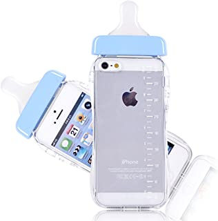Goodaa Baby Bottle Cute 3D TPU Soft Pregnant Woman Milk Bottle Clear Case Lanyard Case Cover for iPhone 5/5s (Blue)