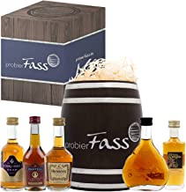 probierFass Cognac Geschenk | 5 Cognac Klassiker 4 x 0.05l - 1 x 0.03l verpackt in einem originellen Fass mit Geschenkverpackung