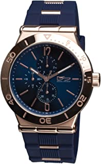Roma Blue Men's Watch - Rose Gold Stainless Steel Silicone Strap Day Date 24-Hour Quartz Movement Sport