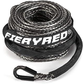 "Corda de guincho sintética 3/16"" x 50' - 8200 lbs corda de guincho com manga protetora para 4WD Off Road Vehicle ATV UTV S..."