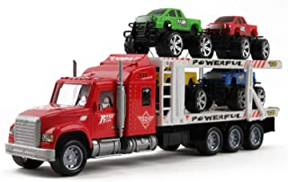 """Vokodo Friction Powered Toy Semi Truck Trailer 14.5"""" With Four Lifted Pickup Cars Kids Push And Go Big Rig Carrier 1:32 Scale Auto Transporter Semi-Truck Play Vehicle Great Gift For Children Boys Girl"""