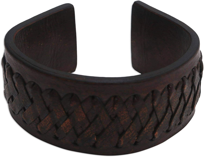 NOVICA Leather Cuff Bracelet, Bali Legend'