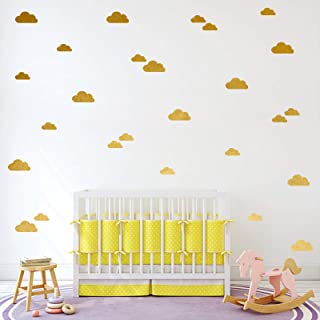 57pcs Gold Cloud Wall Decals for Kids Rooms,Removable Easy Paste Wall Decor for Living Room,Nursery Wall Decor,Kids Room D...