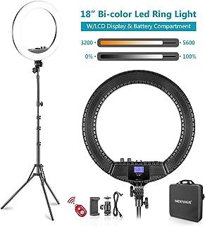 Neewer Luz Anillo LED Bicolor 48cm con Pantalla LCD y Soporte Batería Máx. Bolsa de Soporte y Transporte 157cm Incluida para Video en Vivo Selfie Video Youtube