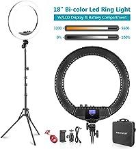 Neewer Luz Anillo LED Bicolor 48cm con Pantalla LCD y Soporte Batería, Máx. Bolsa de Soporte y Transporte 157cm Incluida para Video en Vivo Selfie Video Youtube