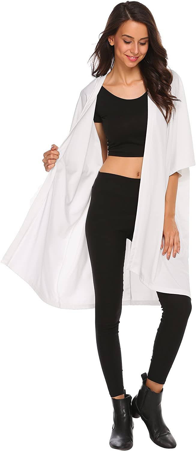 BeautyUU Womens Soft Half Sleeve Loose Fit Open Front Batwing Kimono Cardigan Beach Cover up