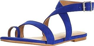 Aerosoles Women's Shortener Flat Sandal, Blue Fabric, 5.5 M US