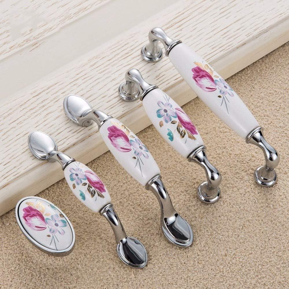 JFOPRH 2pcs Tulipano Maniglia in Ceramica Porta cassetto in Argento Tira Armadio Fiore Vintage Armadio da Cucina Maniglie e manopole Hardware mobili