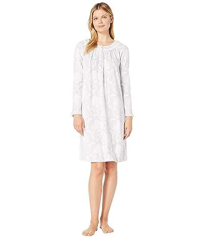Carole Hochman Cozy Fleece Waltz Gown (White/Grey Damask) Women