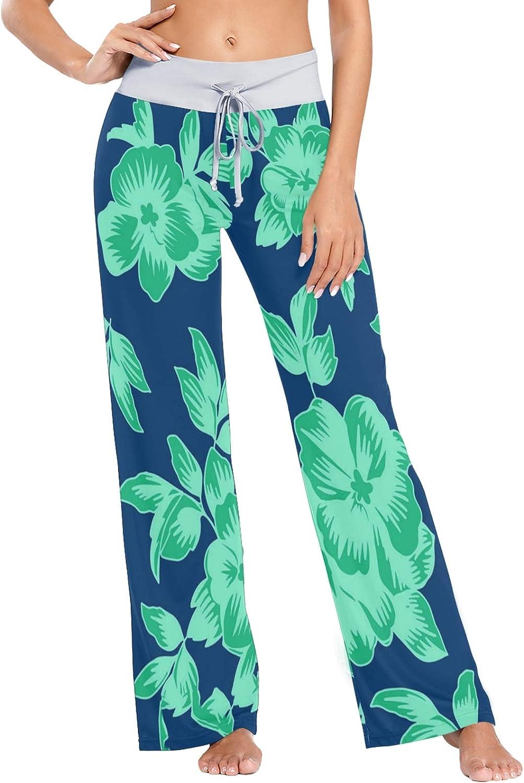 MSACRH Rapid rise Pajama Pants for Women cheap Green Flowers P Sleepwear On Blue