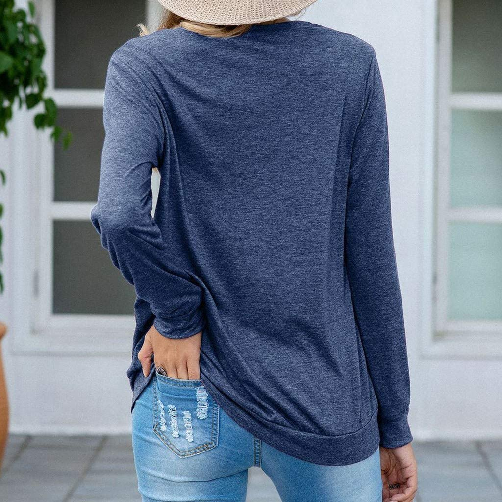 Amober Fashion Womens Casual Loose O-Neck Solid Color Sequined Long Sleeve Loose Tops