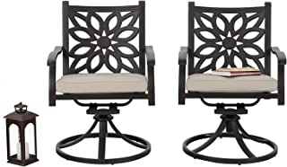 PHIVILLA Cast Aluminum Extra Wide Rocker Swivel Chairs Outdoor Patio Bistro Dining Chair with Cushion Set of 2 - Frosted Surface