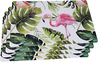 Olen Flamingo Kitchen Table Mats Hard Washable Placemats Waterproof Place Mats Set of 4 Slate Marble Effect