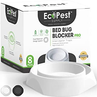 Bed Bug Interceptors – 8 Pack | Bed Bug Blocker (Pro) Interceptor Traps (White) | Insect Trap, Monitor, and Detector for B...