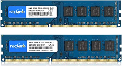کیت TECMIYO 16GB (2x8GB) DDR3 / DDR3L 1600MHz UDIMM، PC3 / PC3L-12800 DIMM، PC3 / PC3L-12800U Non ECC Unbuffered 1.35V / 1.5V CL11 2RX8 Dual Rank 240 Pin RAM Desktop Rule Module