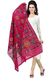 Cotton Embroidery & Mirror Work Dupatta And Free Peacock Saree Brotch Pin