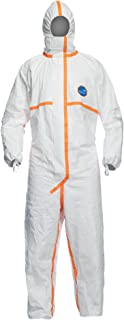 DuPont Tyvek 800J TJ198T Chemical Protective Coverall Suit, CE Certified, Cat III, Type 3/4/5/6, Sealed Bag, X-Large, White