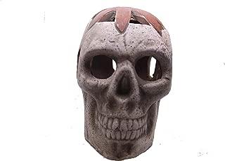LYTIO Skull Figurine Ornament Mexican Hand Made Calavera Made of Clay (Orange)