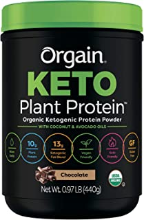 Orgain Keto Plant-Based Protein Powder, Chocolate- Keto Friendly, Organic, Vegan, Gluten Free, Organic Prebiotic Fiber, 0....
