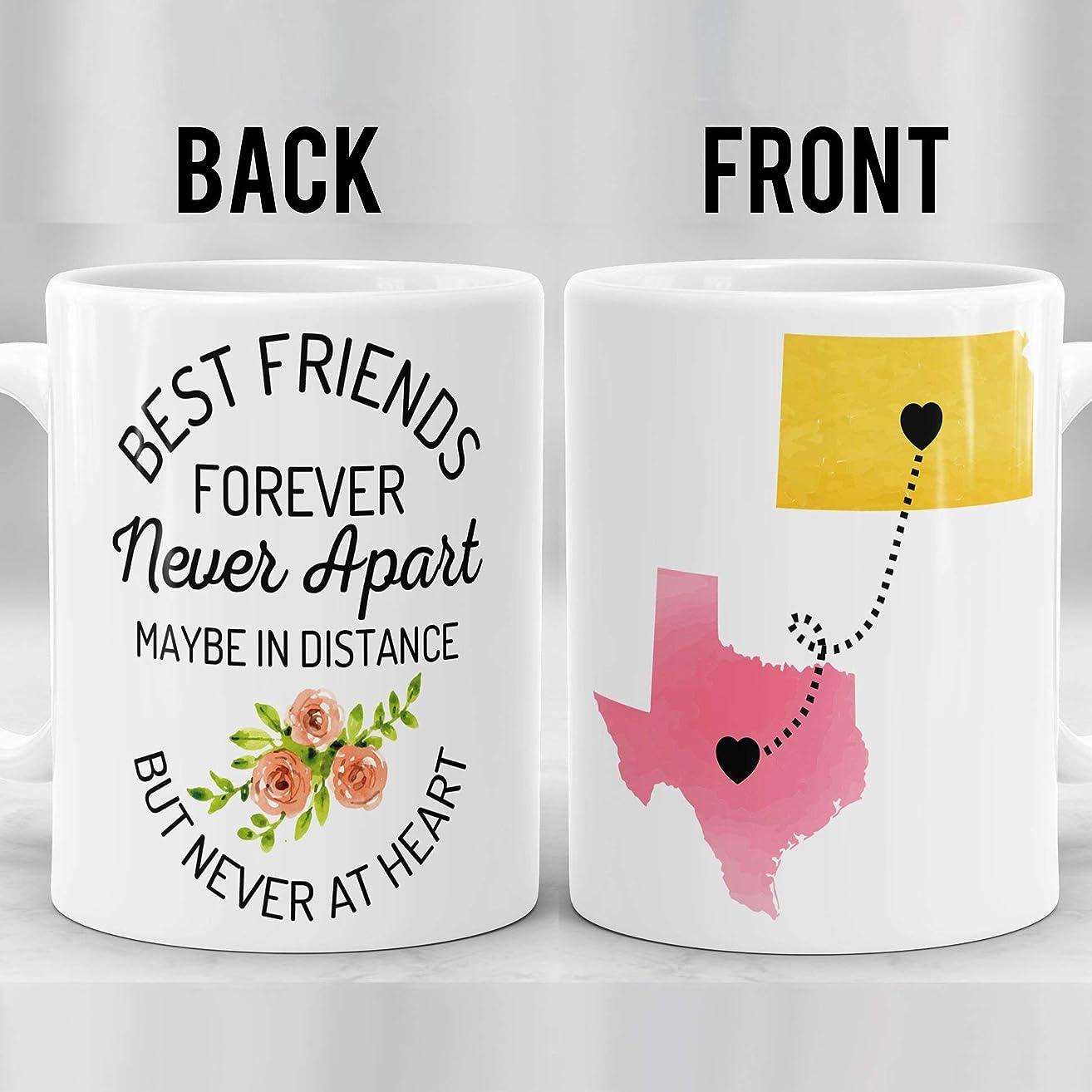 Best Friends Long Distance Mug, Moving Mug For Friend, State To State Friendship Mug, Going Away Gift, Best Friends Forever Mug