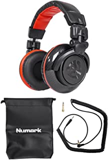 """Numark Red Wave Carbon 50mm Driver Professional Mixing Headphones with 1/8"""" Adapter, Cable, Storage Case"""