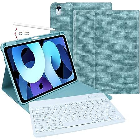 MMK iPad Air 4 キーボードケース2020年秋発売 最新版モデル 10.9インチ カバー Bluetoothワイヤレスキーボード付き「us配列」高級PUレザー&PCバックカバーApple Pencil2のペアリング & 充電に対応 ビジネス手帳型 全面保護 マグネット磁気吸着 脱着式 スタンド機能 多角度調整 日本語説明書付着 (レーキブルー)