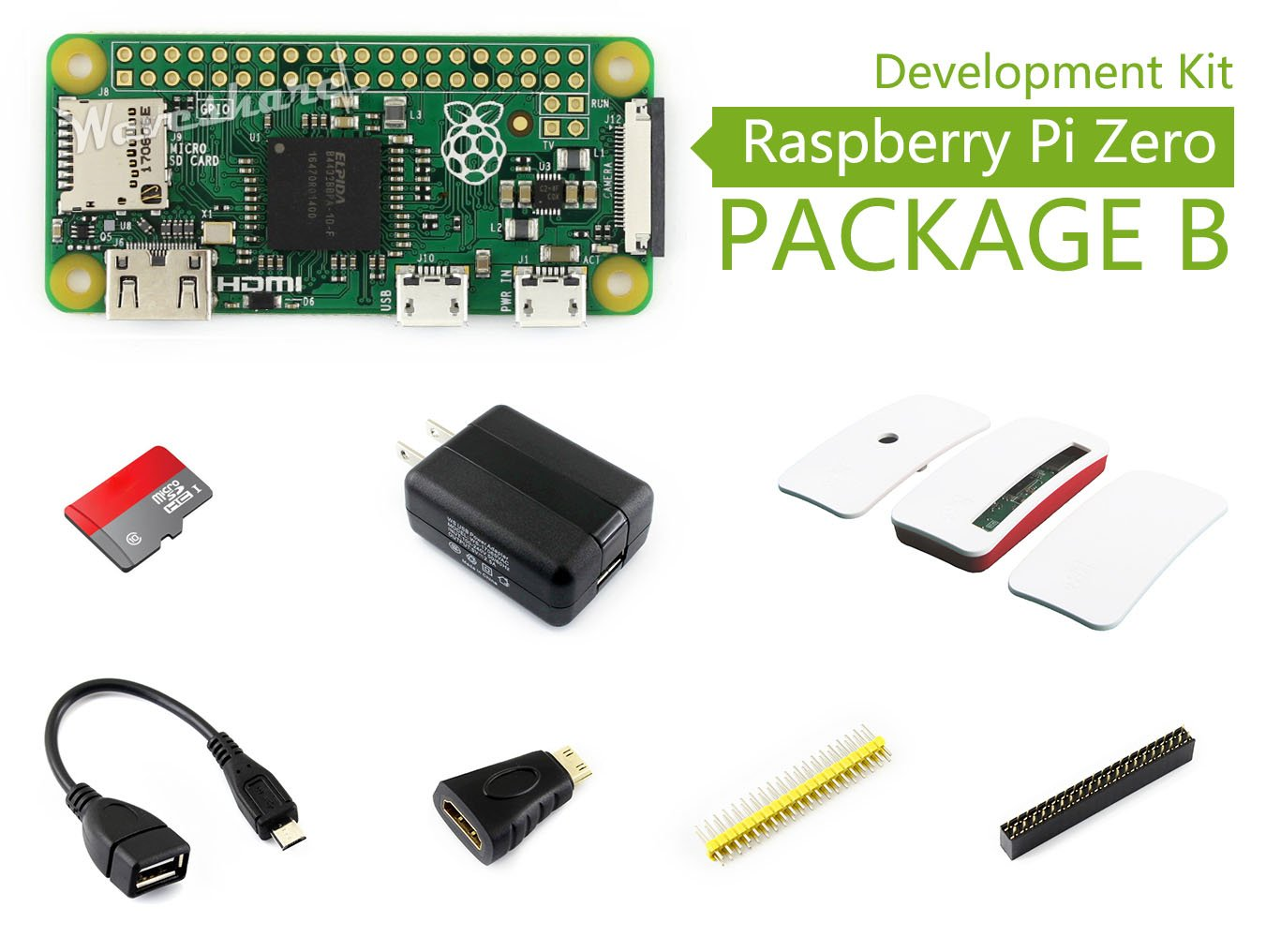 Waveshare Raspberry Pi Zero V1.3 1GHz CPU 512MB Pi 0 Package B Basic Development Kit Micro SD Card, Power Adapter, Official Case, Basic Components: Amazon.es: Electrónica