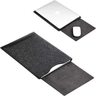 Soyan Leather and Felt Hybrid Laptop Sleeve for MacBook Pro/Air 13.3 Inches, Fits Model A1932/A1989/A1708/A1706 (Black)