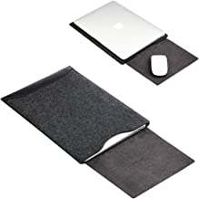 Soyan Leather and Felt Hybrid Laptop Sleeve for MacBook Pro/Air 13.3 Inches (Black)
