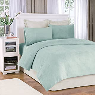 True North by Sleep Philosophy Soloft Plush Full Size Bed Sheets Set, Casual Micro Plush Bed Sheets Set, Sterling Bedding Sets 4-Piece Include Flat Sheet, Fitted Sheet & 2 Pillowcases, Aqua