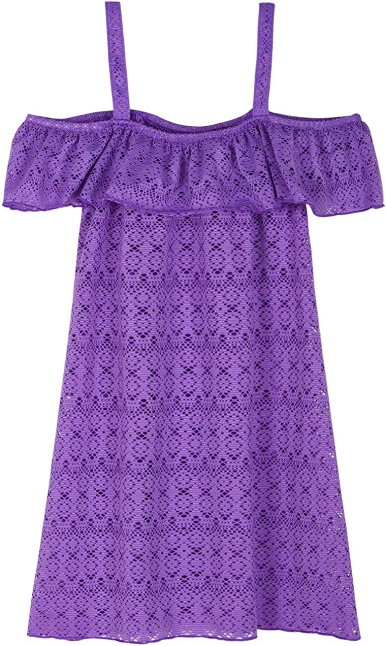 Hilor Girl's Cover-ups Swimwear Off Shoulder Swimdress Ruffled Hollow Beach Dress Cover Up for Kids: Clothing, Shoes & Jewelry