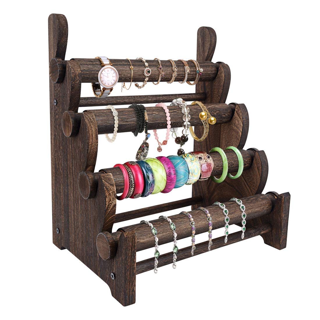 Amazon Com Topnew 4 Tier Wooden Bracelet Holder Bangle Watch Necklace Display Storage Jewelry Holder Stand Display Organizer Brown Home Kitchen