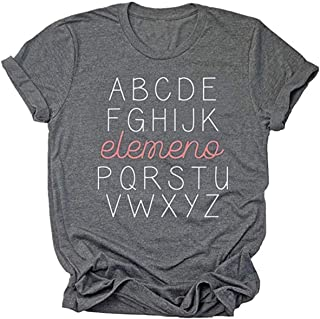 Beopjesk Teacher Shirts Women's Summer Funny Short Sleeve Inspirational Graphic Tees Tops