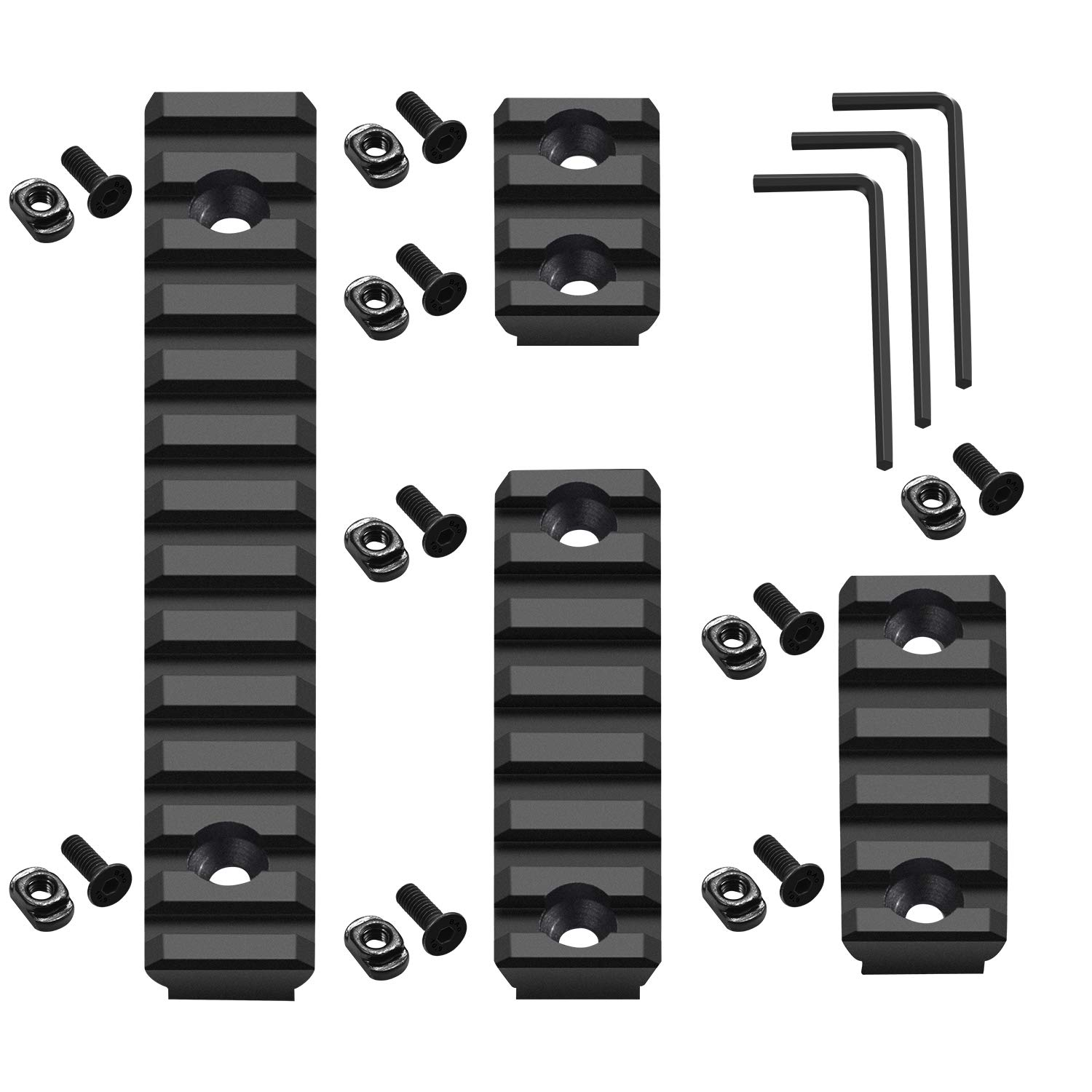 Compatible with Mlok Picatinny Rail 3 5 7 13 Slots Aluminum Picatinny Rails Section Adapter for M LOK Systems with 9 T-Nuts 9 Screws 3 Allen Wrench - 4 Pack