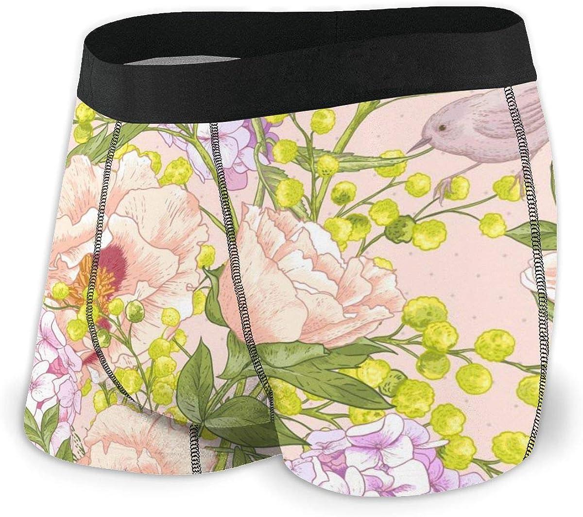 Mens Boxer Briefs Birds, Peonies, Mimosa, Roses, Hydrangea Breathable Underwear