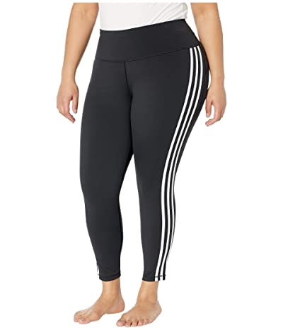 adidas Plus Size Believe This Stripe 7/8 Tights (Black/White) Women