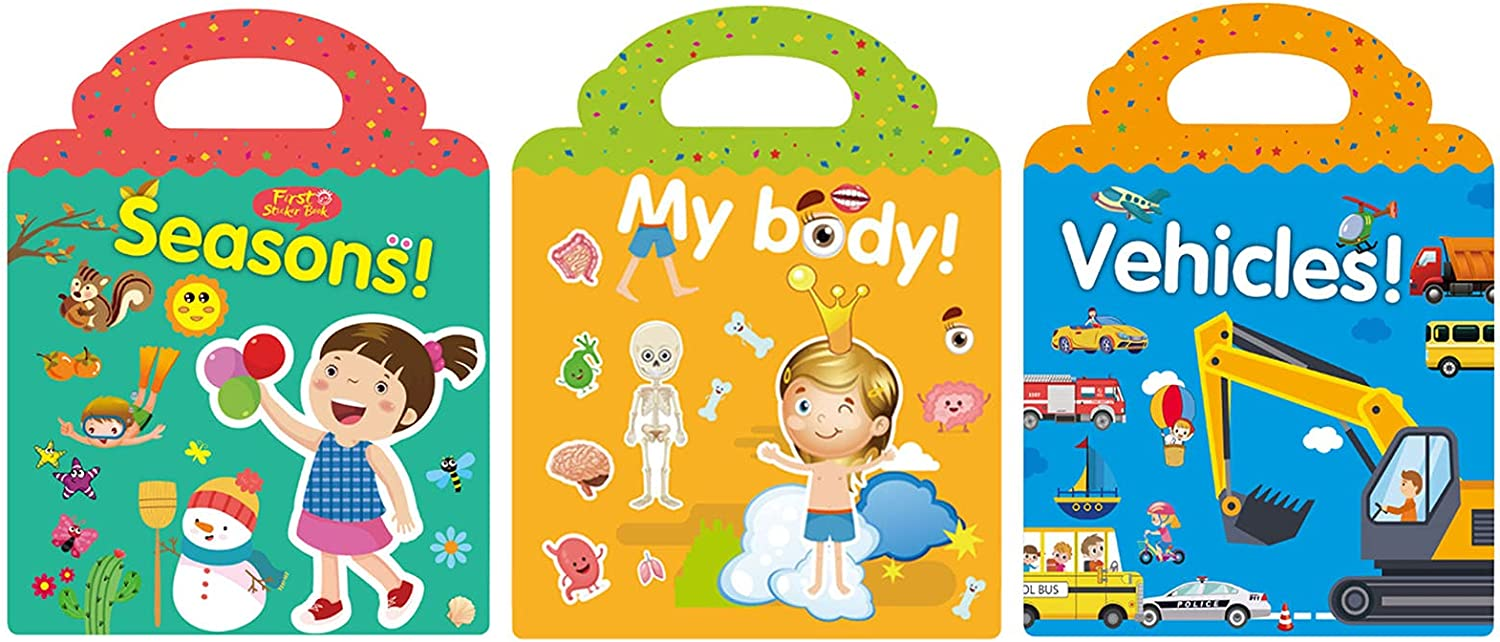 3-Book Set Reusable Sticker Books S Outlet sale feature Waterproof Window Clings Fun Classic