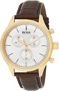 Hugo Boss Men'S White Dial Leather Band Watch - 1513545,