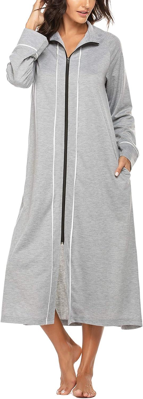 Ekouaer Women Zipper Robe Long Sleeve Loungewear Full Length Nightgown Duster Housecoat with Pockets S-XXL