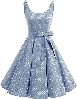 1950's Bowknot Vintage Retro Polka Dot Rockabilly Swing Dress
