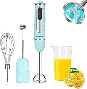 Hand Blender, Homeleader 500W Immersion Blender Handheld, 3-1 Hand Blender, Smart 8 Variable Speeds, Titanium Steel Blades, Includes 600ml Mixing Beaker, Whisk Attachment, Milk Frother