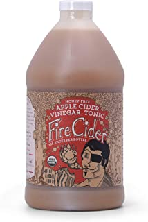 Fire Cider, Apple Cider Vinegar Tonic, Honey-Free flavor, Certified Vegan, Pure & Raw, All Certified Organic Ingredients, Not Heat Processed, Not Pasteurized, Paleo, Keto, 128 Shots, 64 oz.