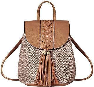 MEGAUK Damen Sommer Strand Strohrucksack Beuteltasche Bucket Bag Shopper mit Reißverschluss